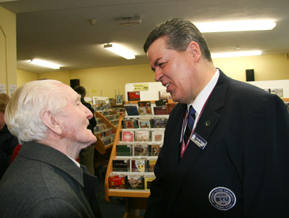 86-year-old former voice teacher greeting Dr. Staheli